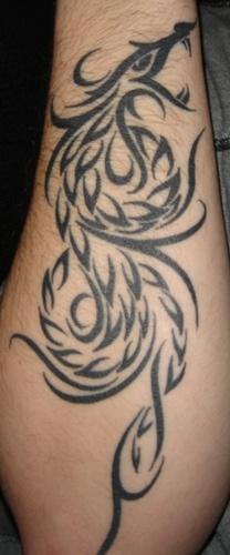 Tribal phoenix symbol tattoo on forearm