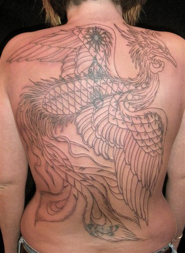 Phoenix black ink artwork tattoo