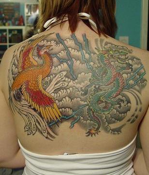 Phoenix and asian dragon in sky full back tattoo - Les plus beaux tatouages femme ...
