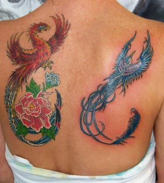 Phoenix and blue bird tattoo with flowers on back