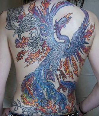 Colourful phoenix full back tattoo