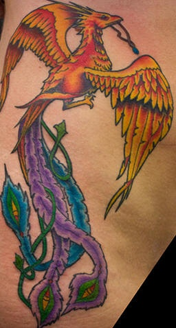 Phoenix bird with necklace in claw tattoo