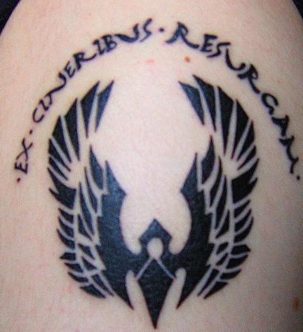 Phoenix tattoo with ex cineribus resurgam