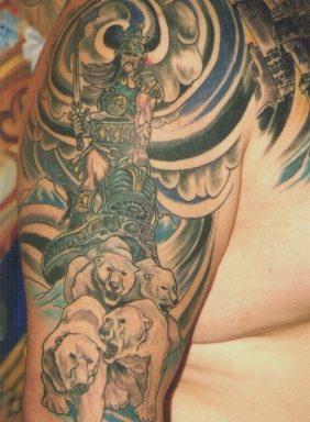 Epic polar bear chariot tattoo