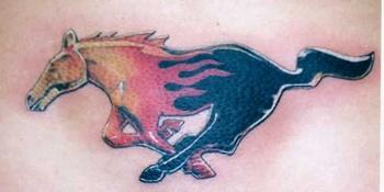Flaming horse tattoo