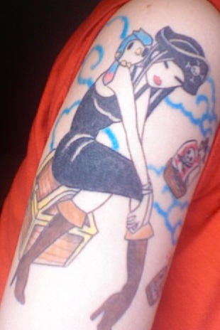 Anime style pirate girl tattoo