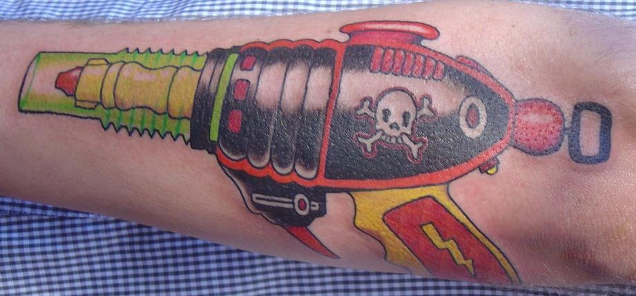 Pirate ray gun tattoo in colour