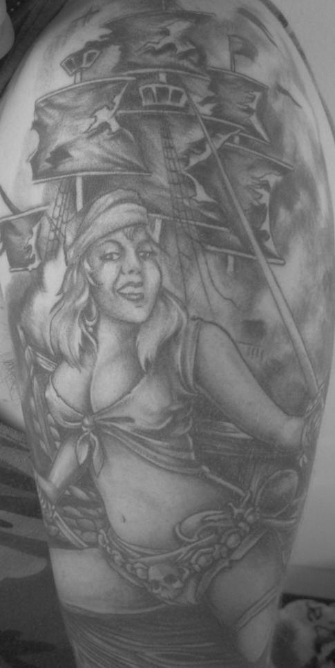 Pirate ship and girl monochrome tattoo