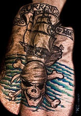 Pirate ship and skull clssic tattoo