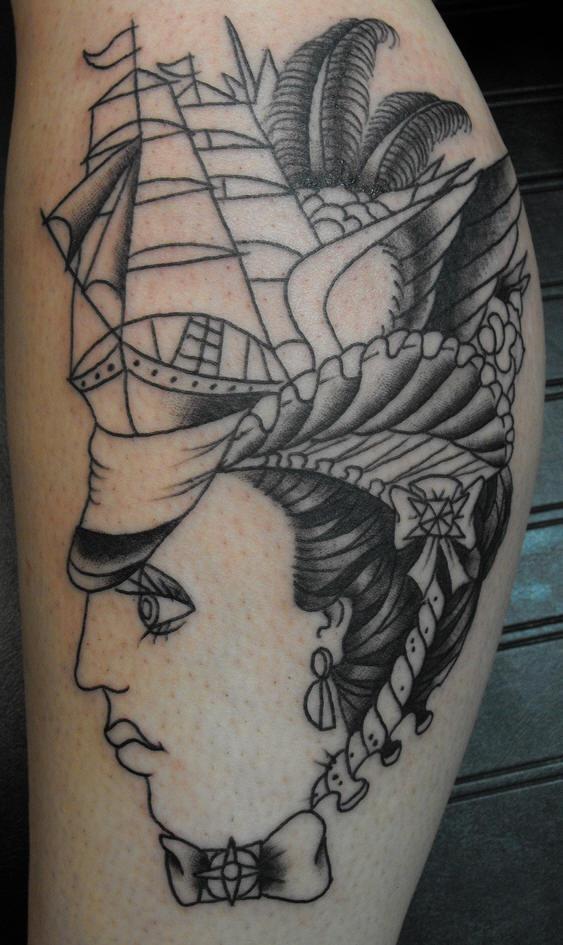 Pirate ship on woman head