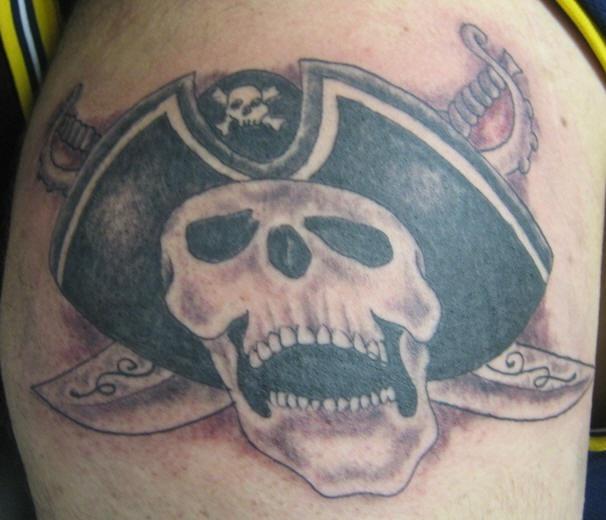 Captain pirate skull tattoo