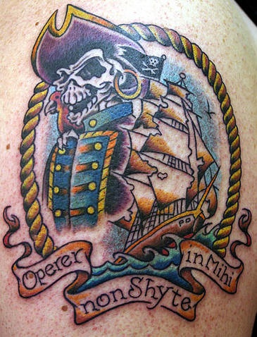 Pirate skeleton and sailing vessel tattoo