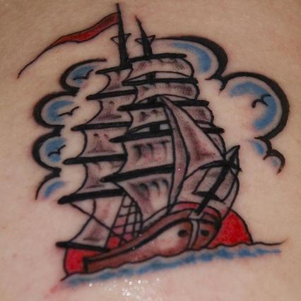 Pirate sailing vessel tattoo in colour