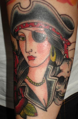 Classic pirate girl portrait  tattoo