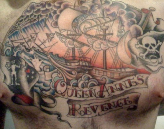 Queen annes revenge pirate themed chest tattoo