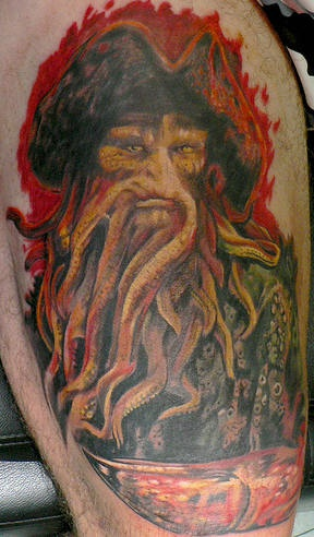 Detailed Davy Jones from movie tattoo
