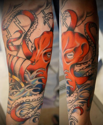 Giant octopus atack on ship tattoo