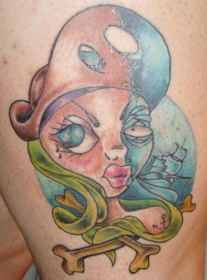 Pirata mezza morta tatuaggio