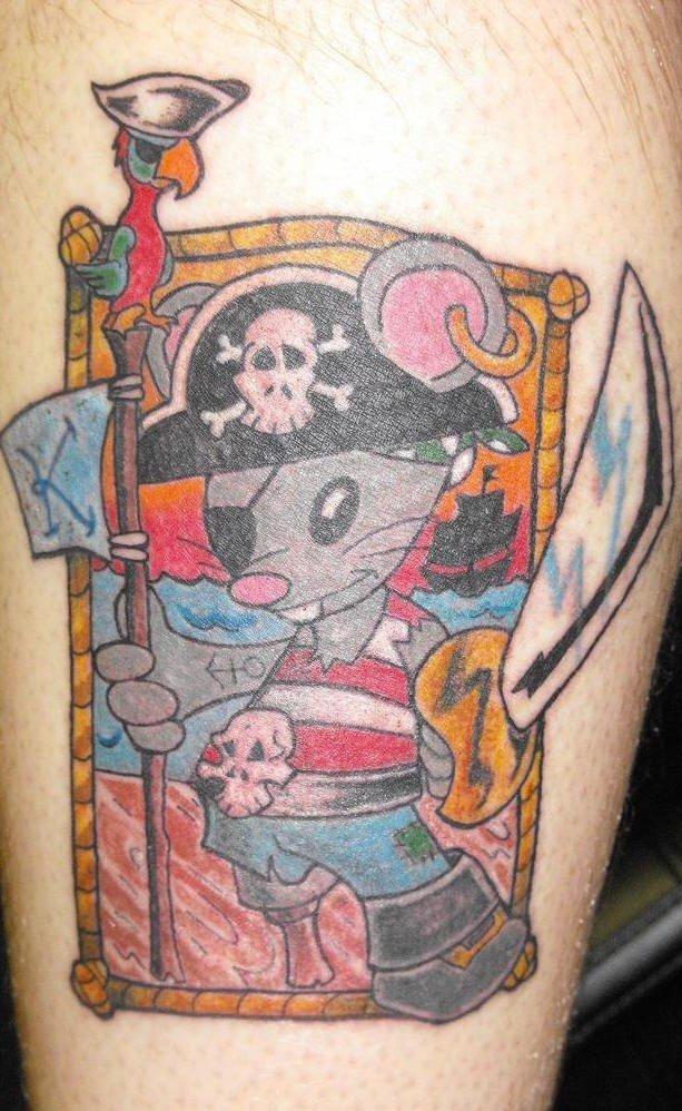 Topo pirato tatuaggio colorato