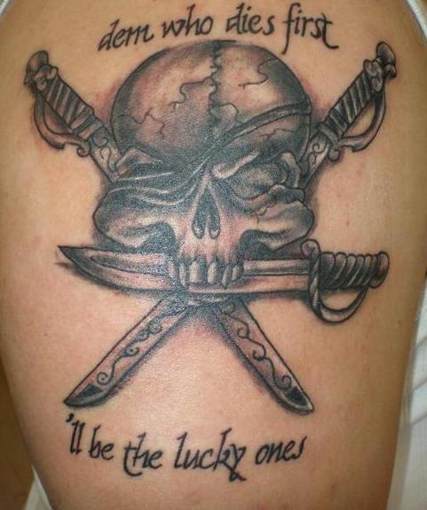 Agressive pirate skull large tattoo