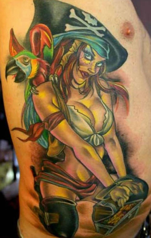 Pirate girl and treasures tattoo in colour