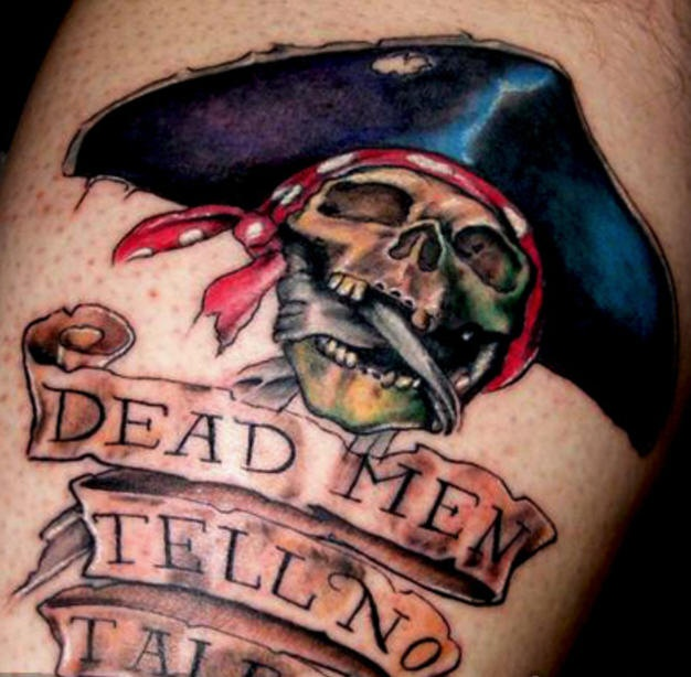 Pirate skull dead men tell nothing tattoo
