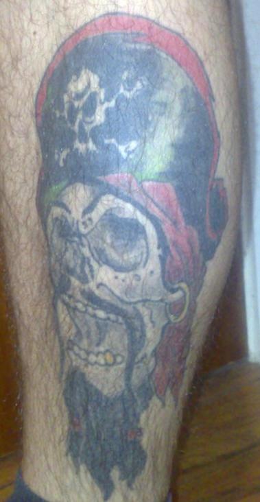 Pirate captain skull with beard tattoo