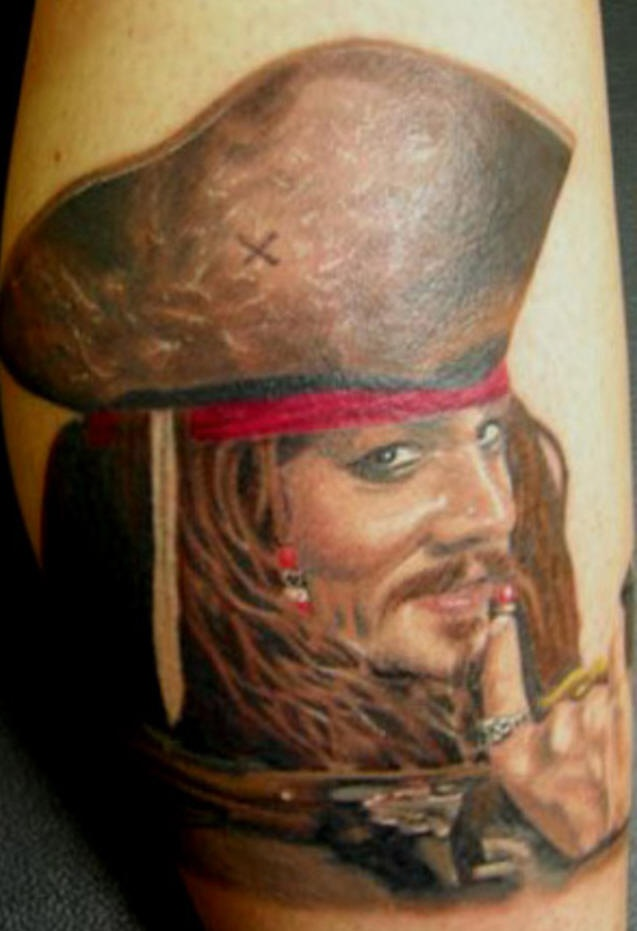 Captain jack sparrow portrait tattoo for Captain jack sparrow tattoo