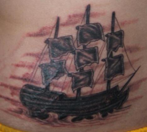 Pirate sailing vessel tattoo