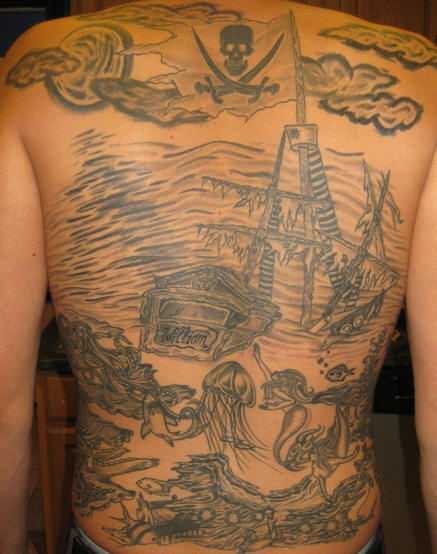 Pirate themes full back tattoo