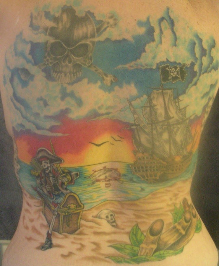 Detailed pirate themed full back tattoo