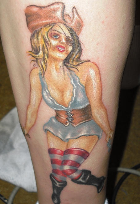 Pirate wench tattoo in colour
