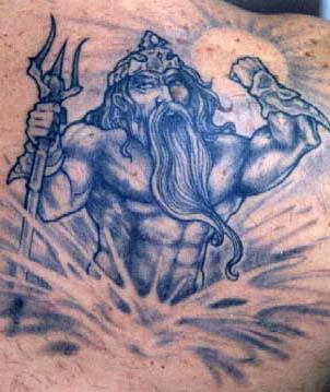 Blue poseidon with trident tattoo
