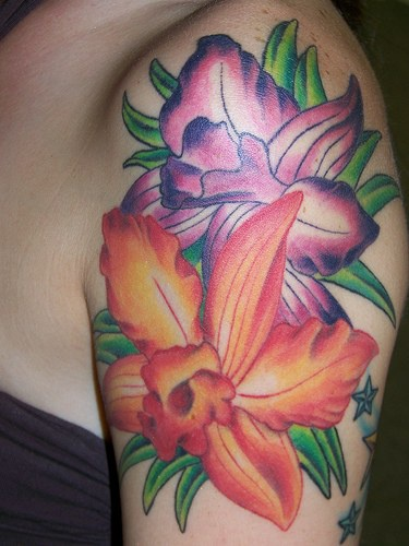 Purple and orange hibiscus flowers tattoo