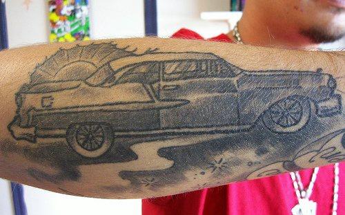 Classic american car black ink tattoo