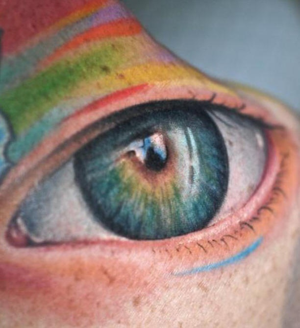realistico occhio largo tatuaggio