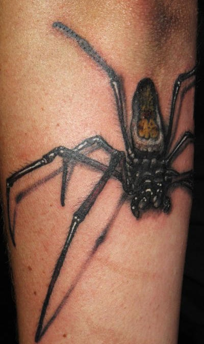 Realistic scary spider tattoo