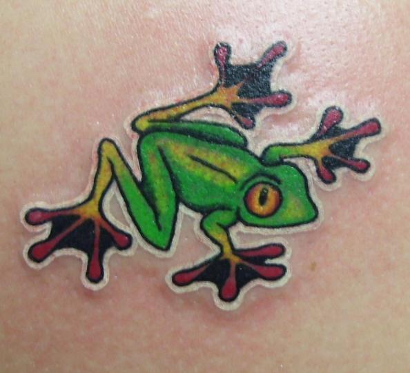Red eye frog tattoo