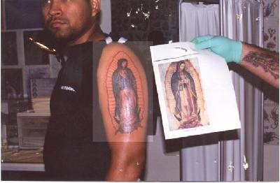 Saint mary de guadalupe tattoo on shoulder