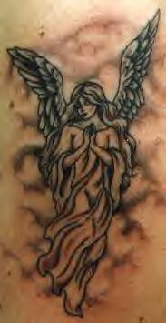Female winged angel tattoo