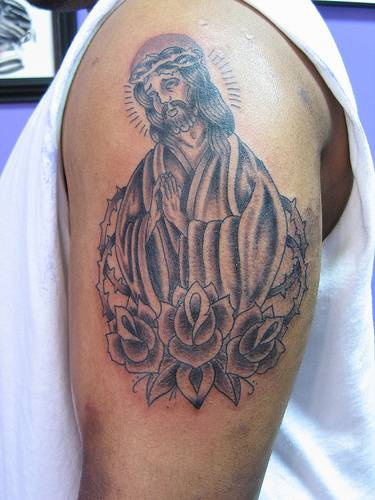 Nice jesus and roses tattoo