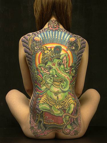 Green ganesha full back tattoo