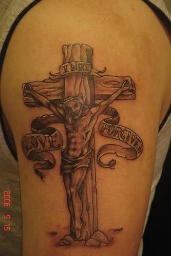 Crucifixion love and forgive tattoo