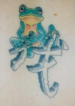 Green frog on hieroglyph tattoo