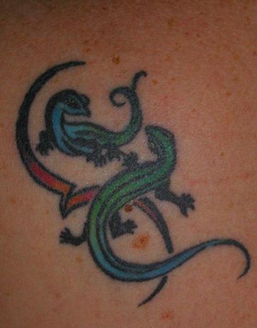Colourful tribal lizards tattoo