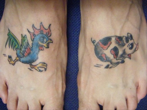 Rooster running for pig tattoo on both feet