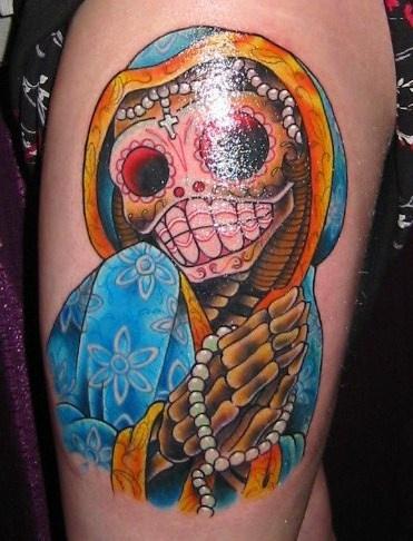 Colourful dia de muertos skeleton tattoo