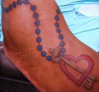 Rosary beads with heart and key tattoo