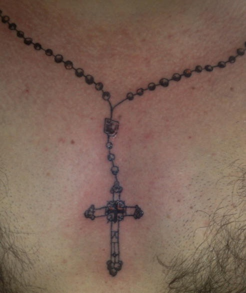 ad49079b9 Rosary bead neck tattoo - Tattooimages.biz