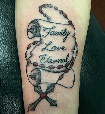 Rosary with writings  tattoo